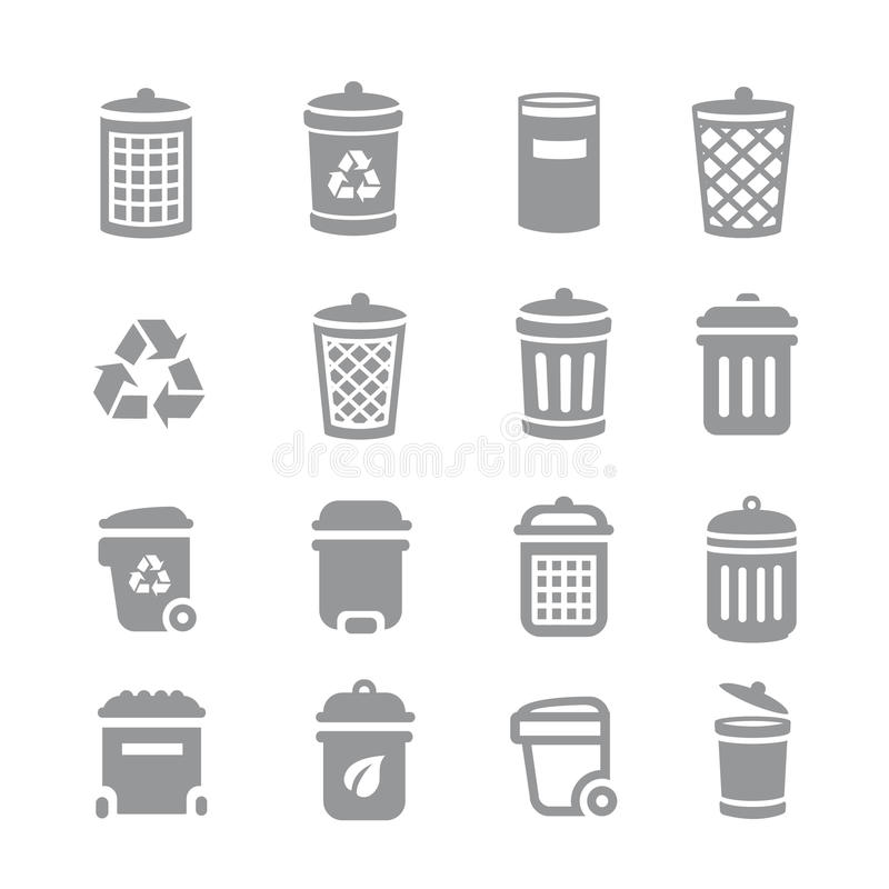 Trash can and recycle bin icons. Garbage and rubbish, clean and waste, vector illustration