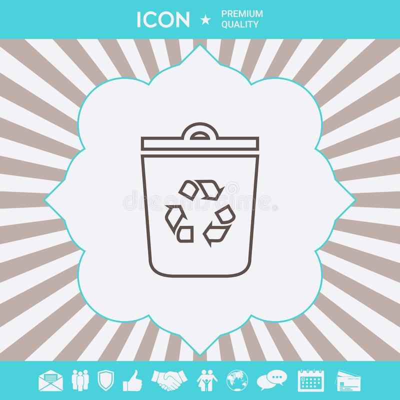 Trash can, recycle bin symbol icon. Graphic elements for your design royalty free illustration