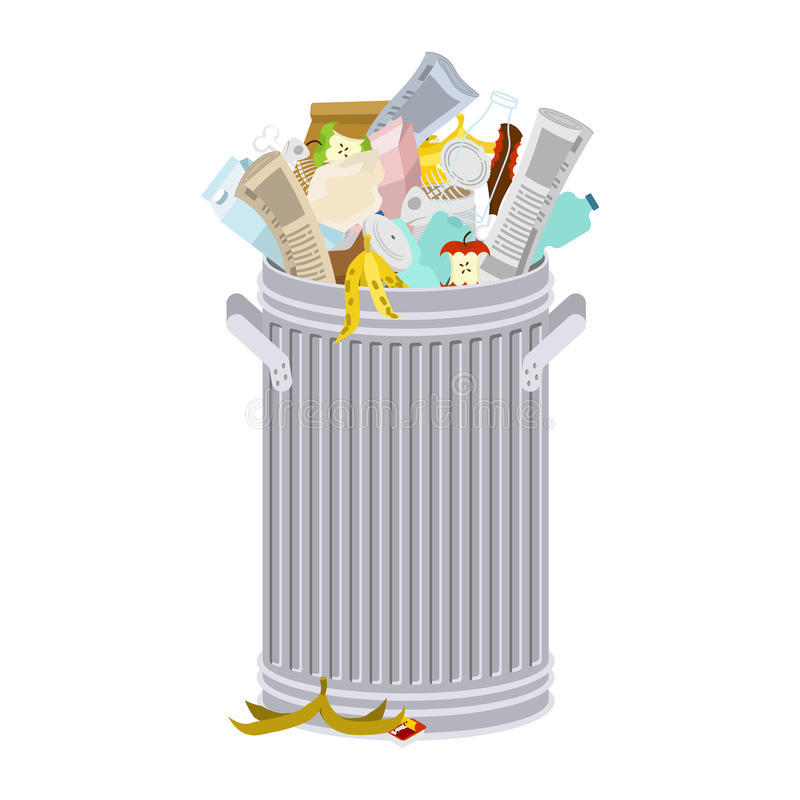 Trash can with Rubbish isolated. Wheelie bin with Garbage on white background. Dumpster iron. peel from banana and stub. Tin and royalty free illustration