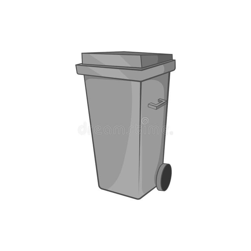 Trash can on wheels icon, black monochrome style stock illustration