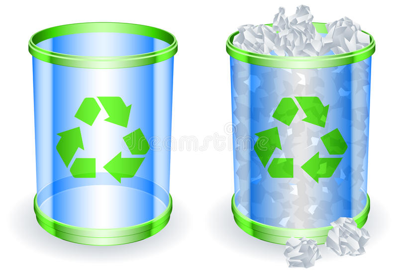 Download Trash cans. stock vector. Image of container, dimensional - 18951896