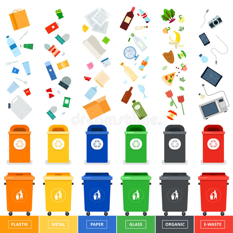 Trash cans with srted garbage royalty free stock images