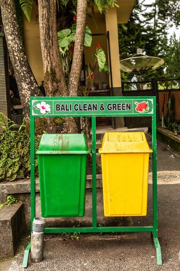 Trash cans at Ulun Danu Beratan Temple complex, Bedoegoel, Bali Indonesia. Bali, Indonesia - February 25, 2019: Ulun Danu Beratan Temple complex in Bedoegoel stock images