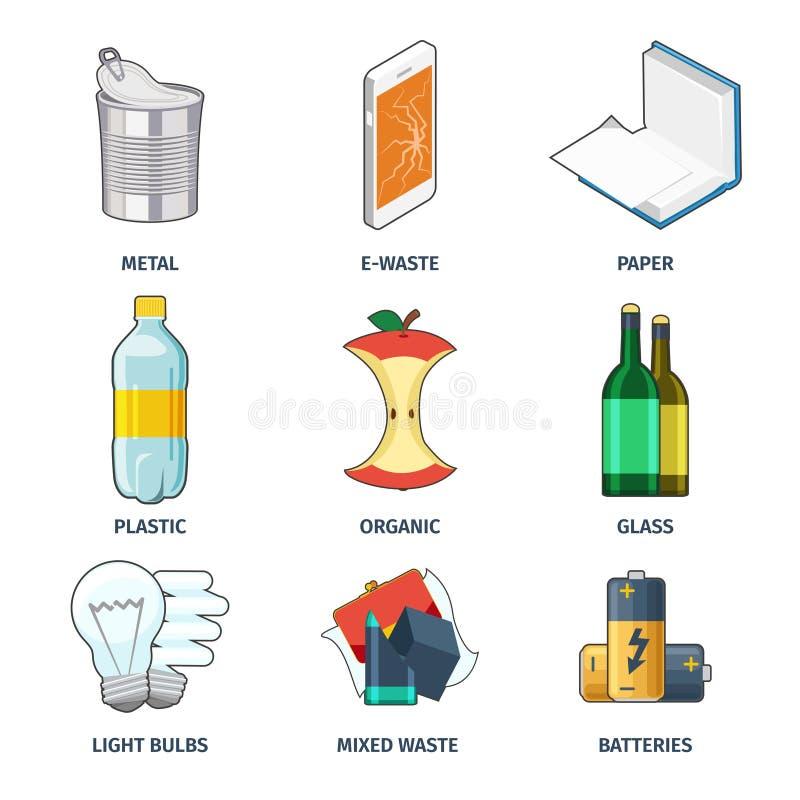 Trash categories icons vector set stock illustration