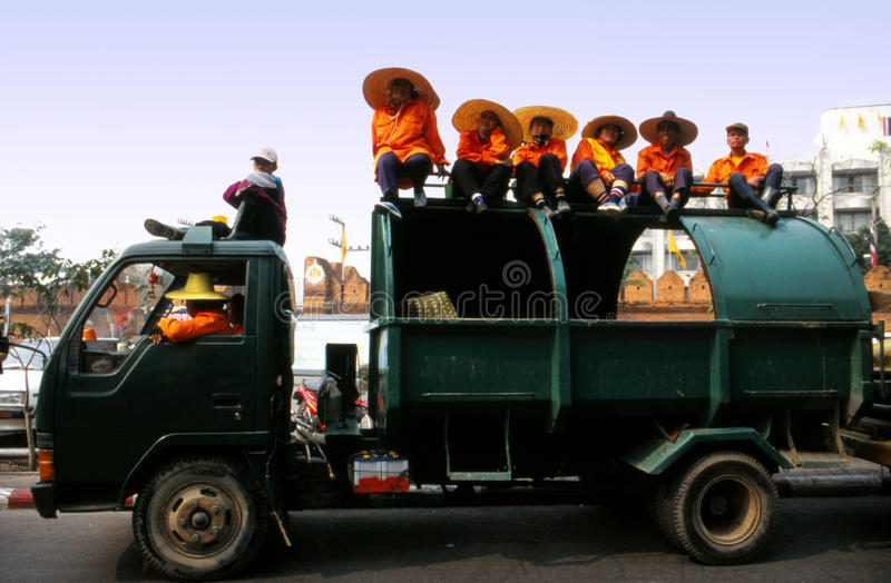 Download Trash Collectors Waiting At The Flower Carnival Editorial Photography - Image: 29006712