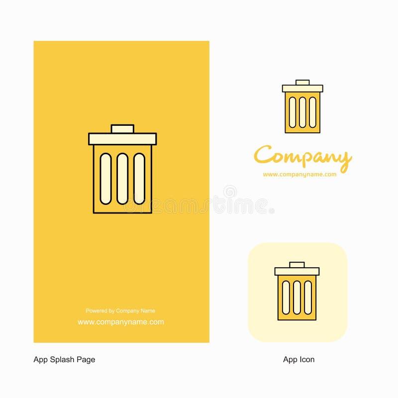 Trash Company Logo App Icon and Splash Page Design. Creative Business App Design Elements royalty free illustration
