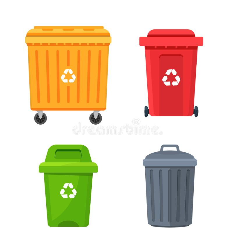 Trash container bin icon. Garbage can metal recycle basket box for trash waste symbol stock illustration