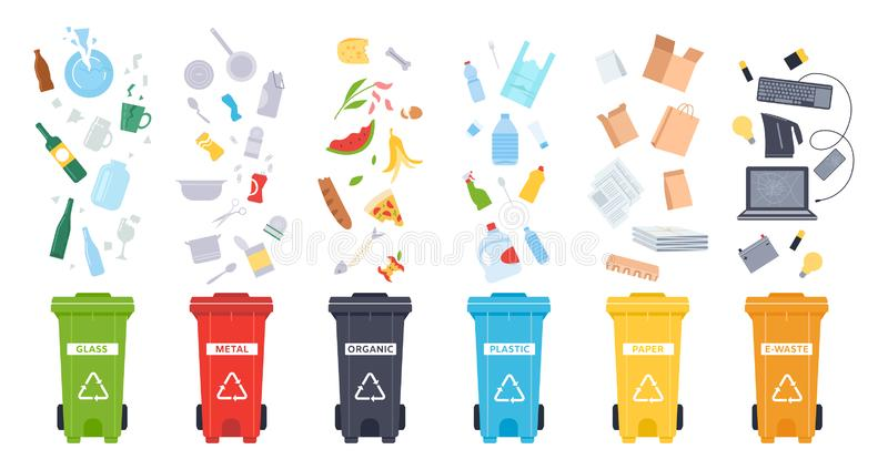 Trash containers. Organic, e-waste, plastic, paper, glass and metal trash containers. Recycling garbage to save the stock illustration