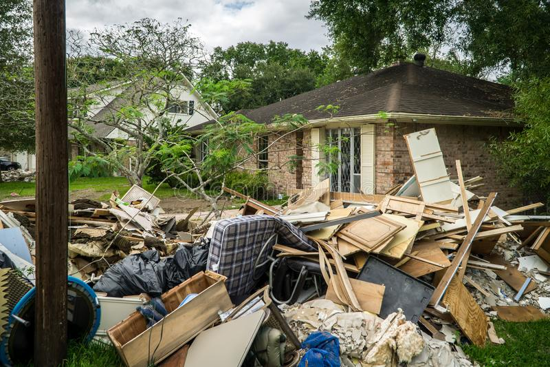 Trash and debris outside of Houston homes royalty free stock photography