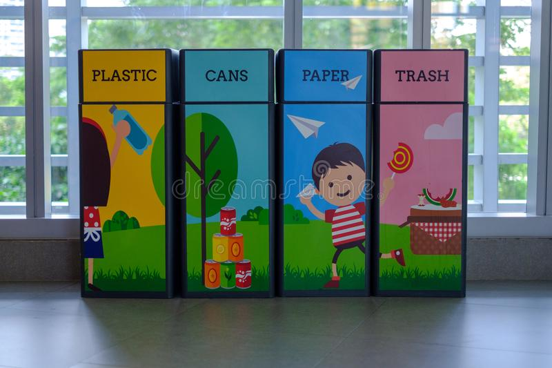 Trash is decorated with beautiful cartoon motifs. A kind of trash stock photo