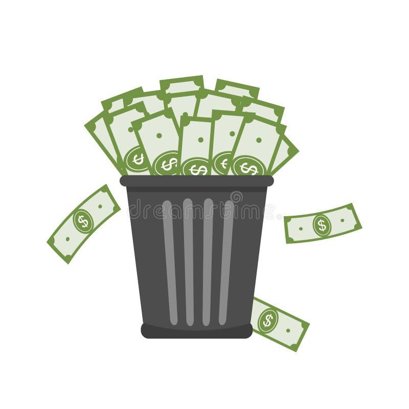 Trash Full of Money. stock illustration