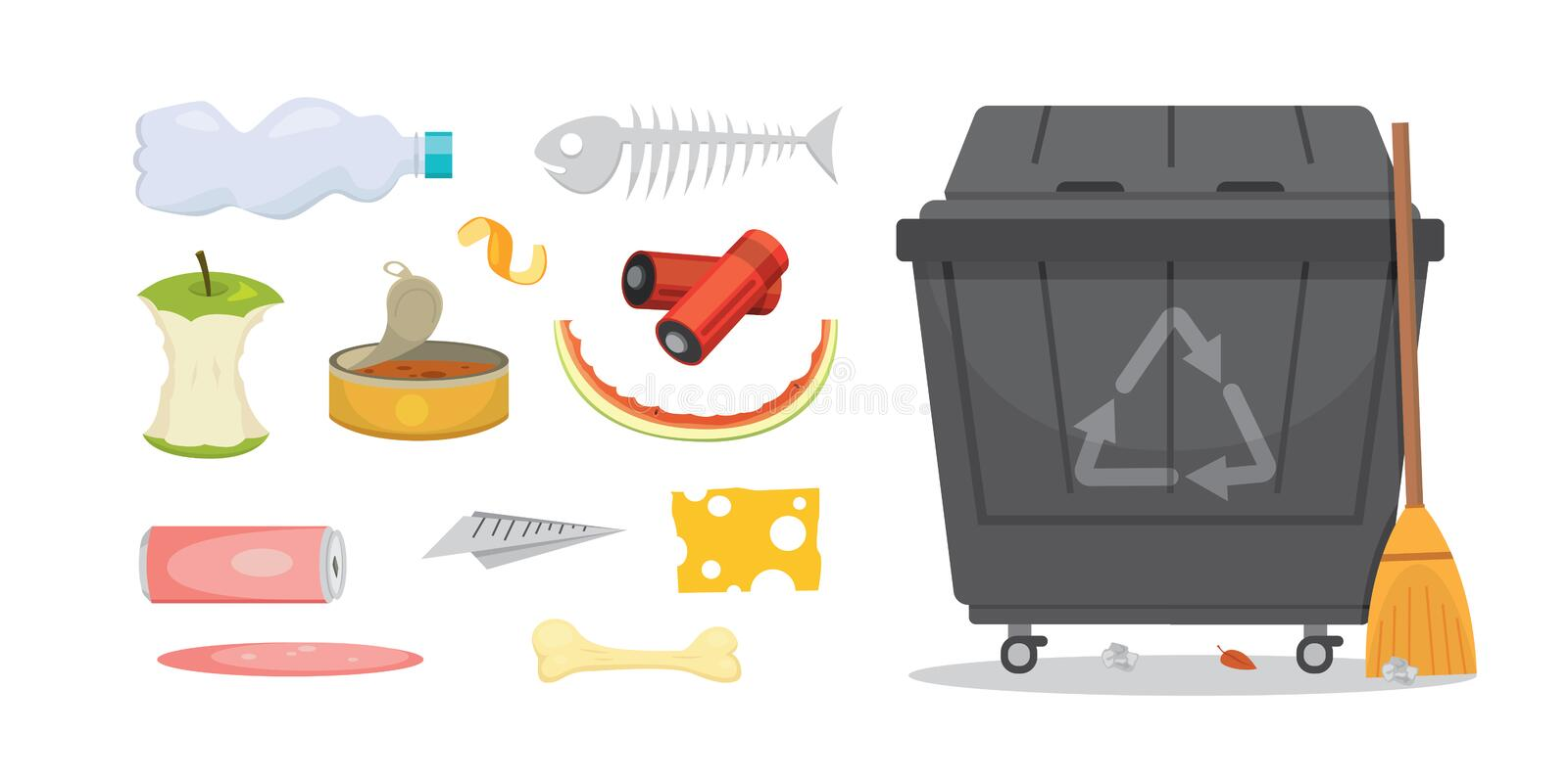 Trash and garbage set illustrations in cartoon style. Biodegradable, plastic and dumpster icons. Trash and garbage set illustrations in cartoon style royalty free illustration