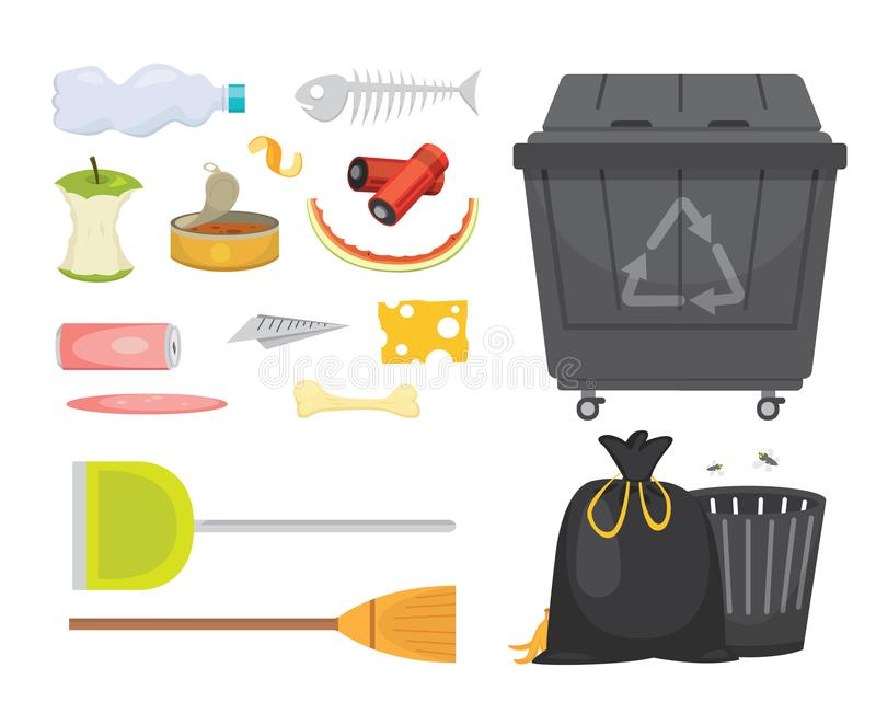 Trash and garbage set illustrations in cartoon style. Biodegradable, plastic and dumpster icons vector illustration