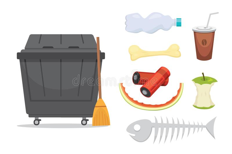 Trash and garbage set illustrations in cartoon style. Biodegradable, plastic and dumpster icons. stock illustration