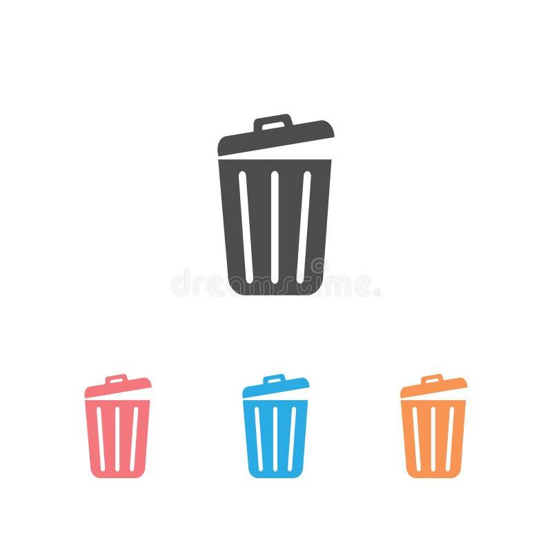 Trash icon set trendy flat design. Vector stock illustration