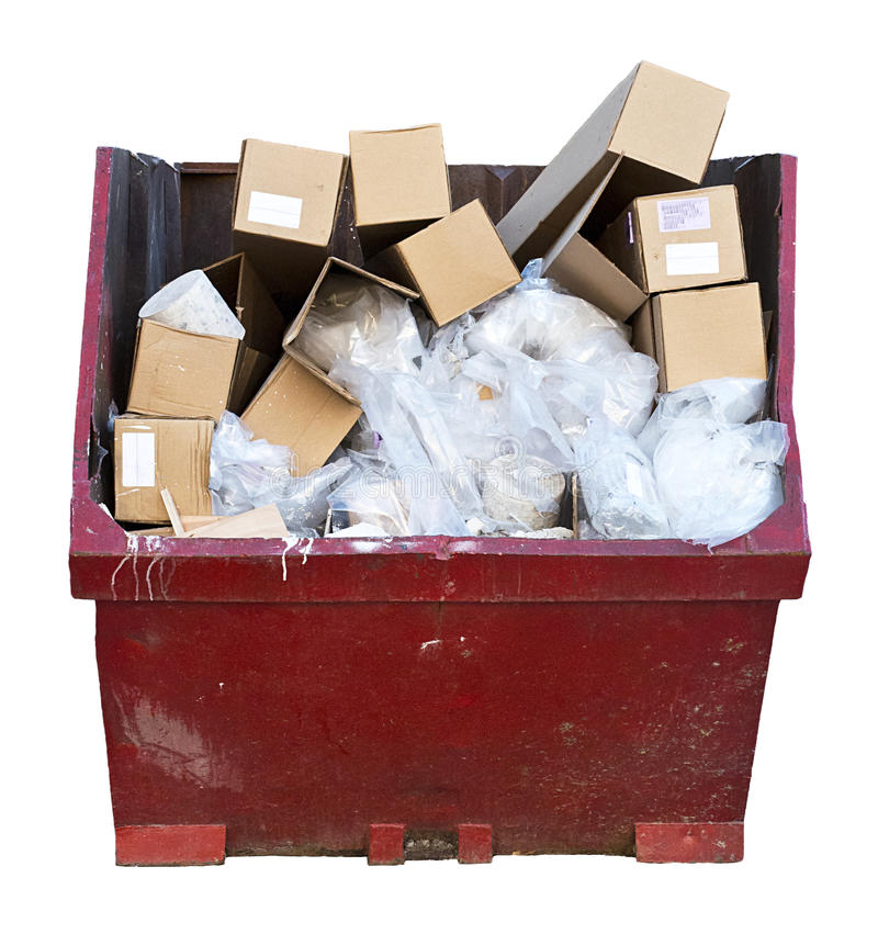Download Trash Junk Garbage Can Dumpster Isolated White Stock Image - Image: 24163367