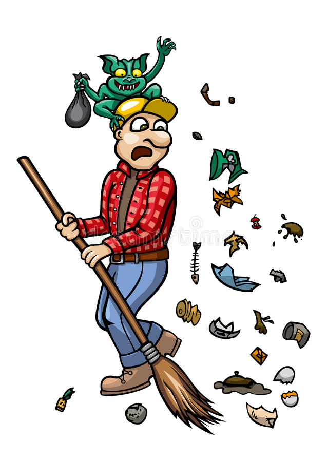 Free Trash Monster And Janitor Royalty Free Stock Images - 32320539