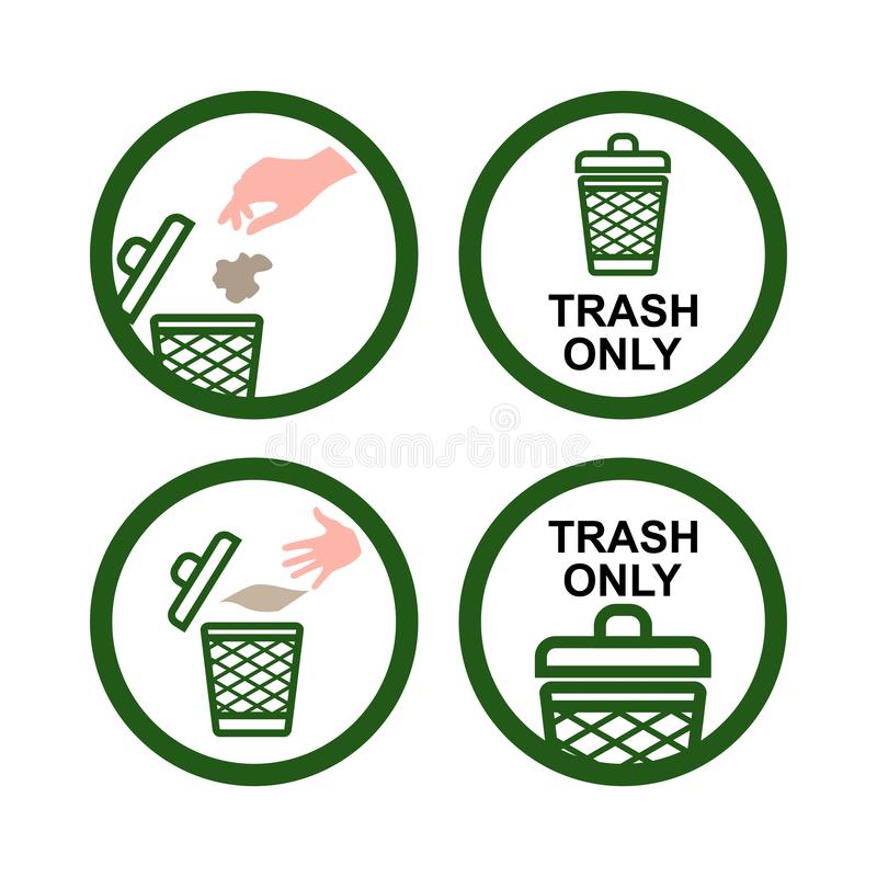 Trash Only No Recycling Hand Throw Garbage Icon Sign royalty free illustration
