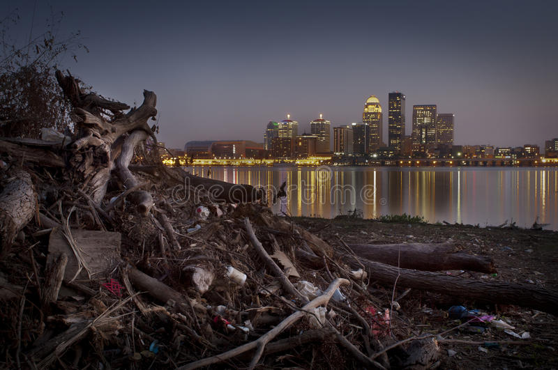 Trash. From the Ohio river piled up on the shore royalty free stock images