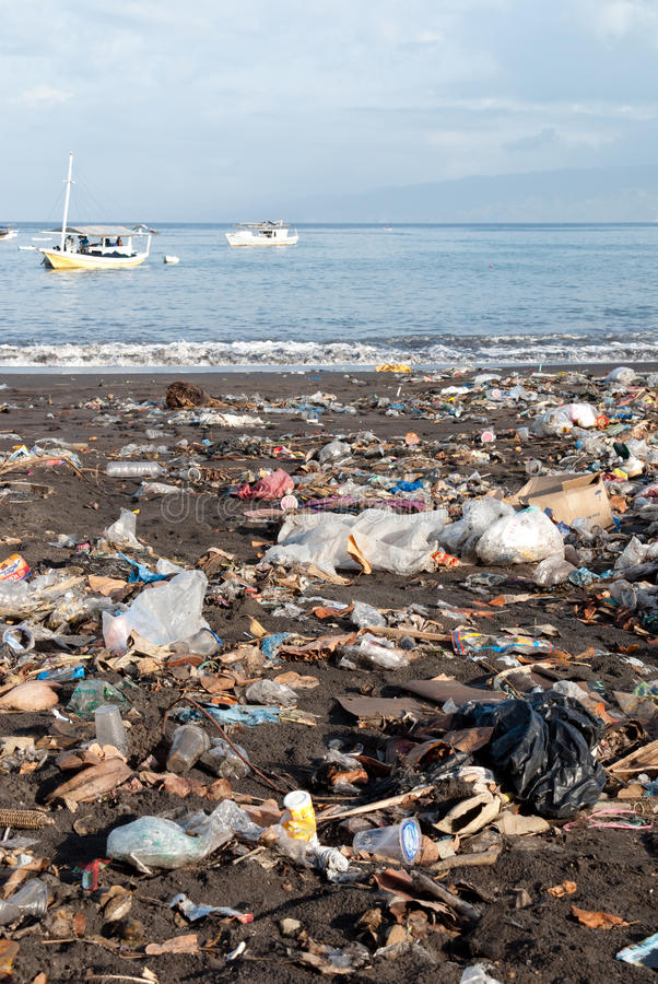 Download Trash on a polluted beach stock image. Image of island - 15577503