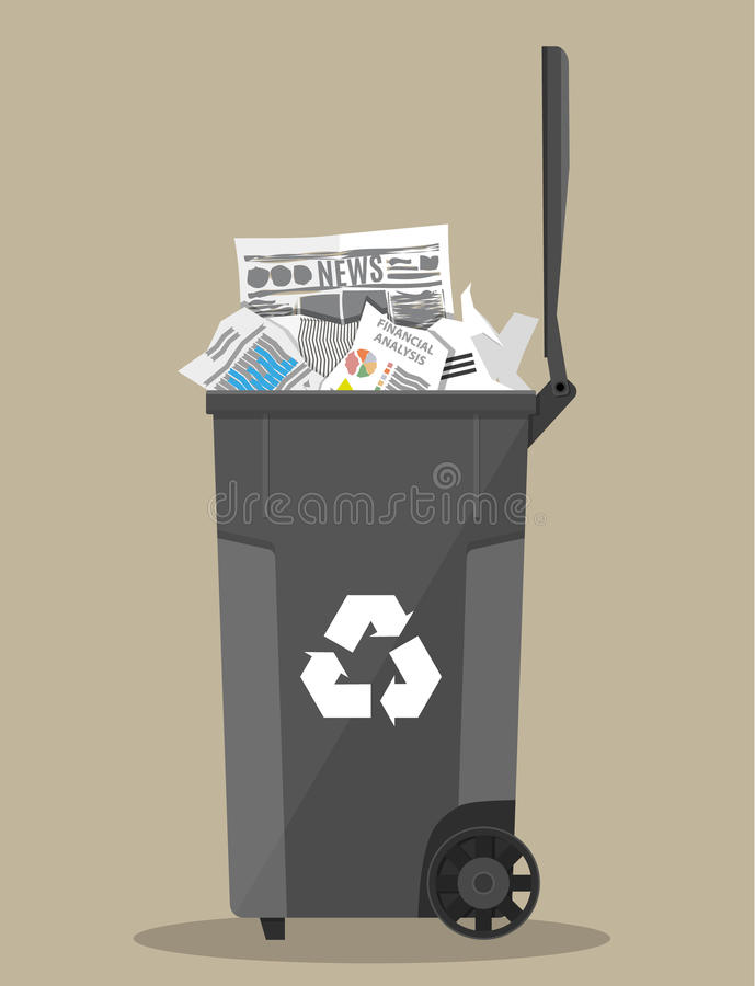 Trash recycle bin container full of paper royalty free illustration
