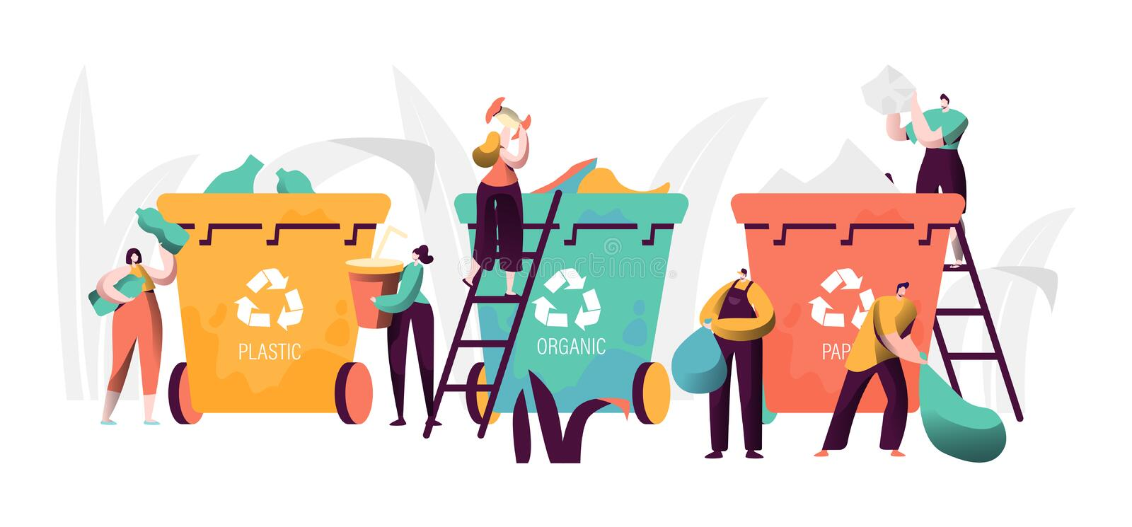 Trash Recycling Industrial Concept. People Characters Sorting Garbage Waste. Saving Earth Ecology Environmental royalty free illustration