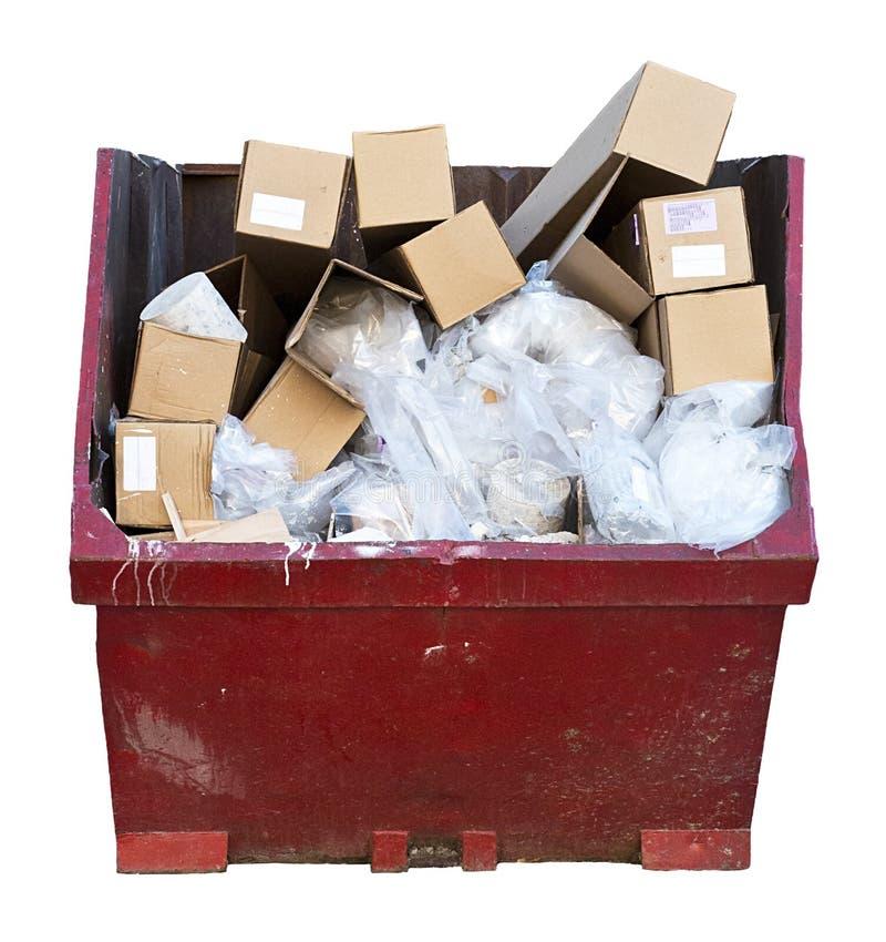 Trash Trödel-Abfall-Dosen-Müllcontainer getrenntes Weiß lizenzfreie stockfotografie