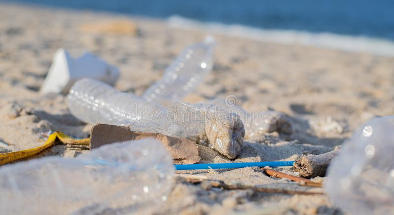 Trash and used plastic bottles on the beach. Environmental pollution. Ecological problem royalty free stock photo