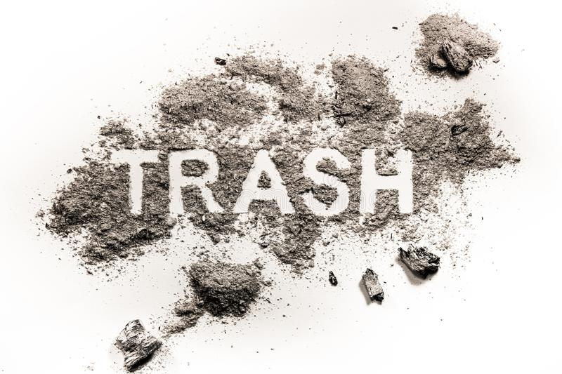 Download Trash Word Drawing Made In Dirt, Filth Or Dust Stock Image - Image of garbage, grey: 103254897