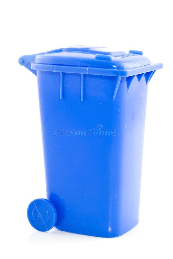 Trashcan azul imagem de stock