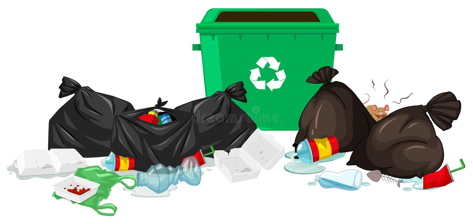 Trashcan and bags full of waste stock illustration