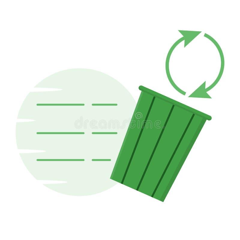 Trashcan, de kringloopvector van de recyclingsillustratie vector illustratie