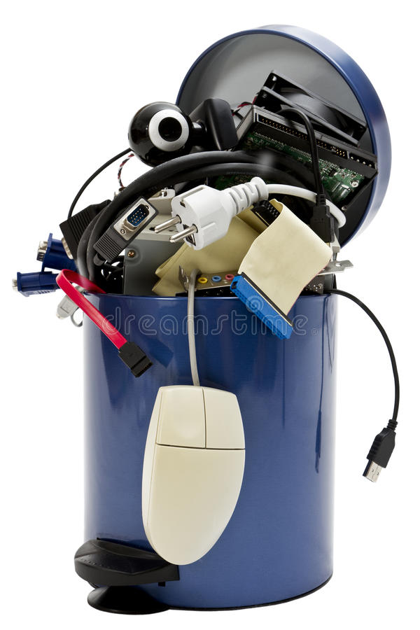 Trashcan with electronic waste stock photography