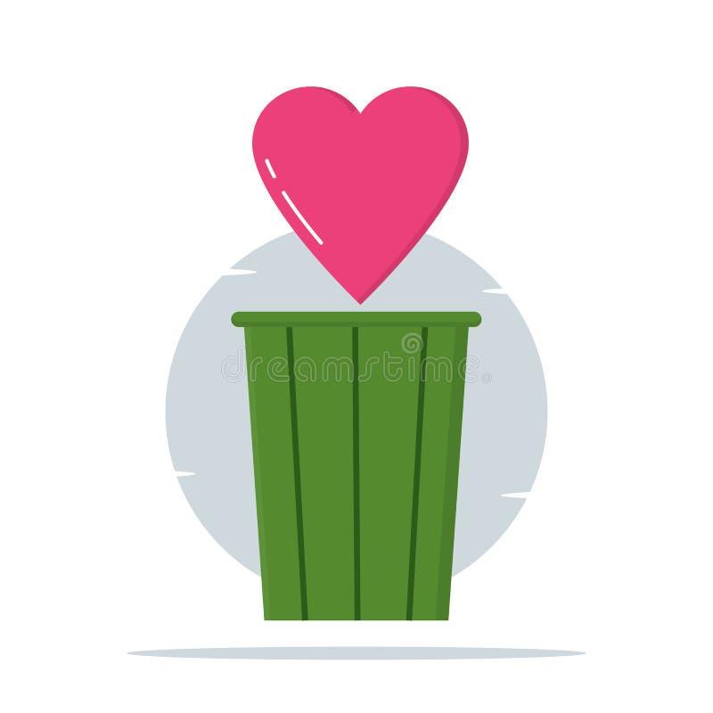 Trashcan, förälskelse- och hjärtaillustration - vektor royaltyfri illustrationer