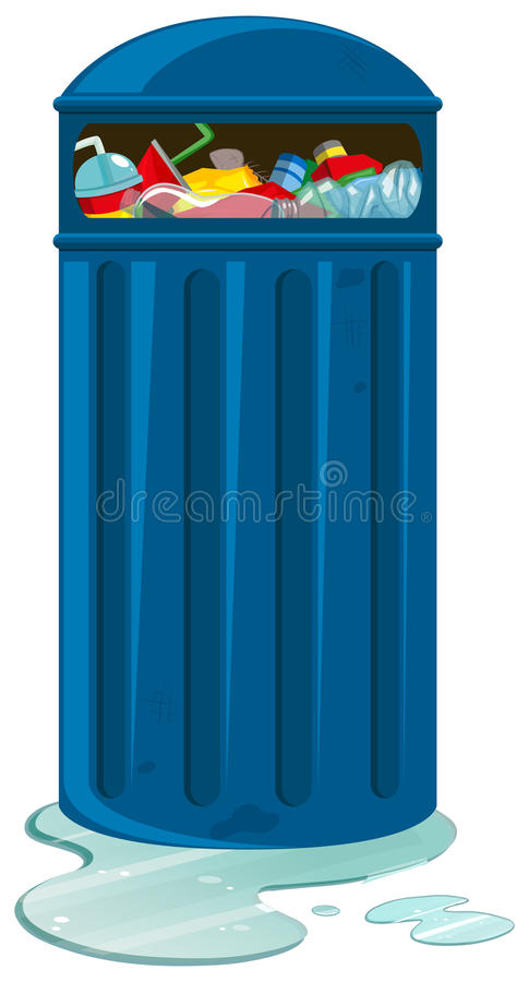 Trashcan full of plastic bottles and cans royalty free illustration