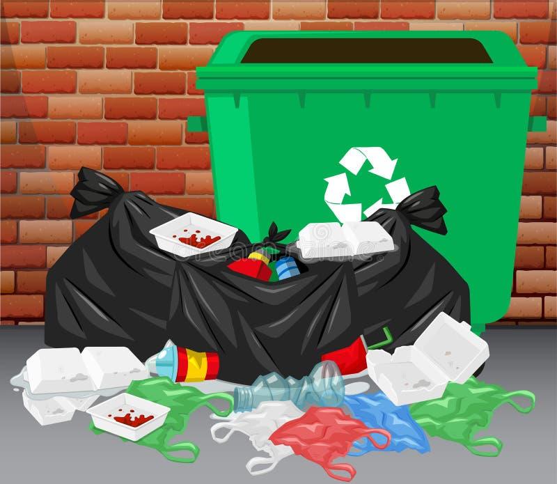 Trashcan i stos brudny grat na podłoga ilustracja wektor