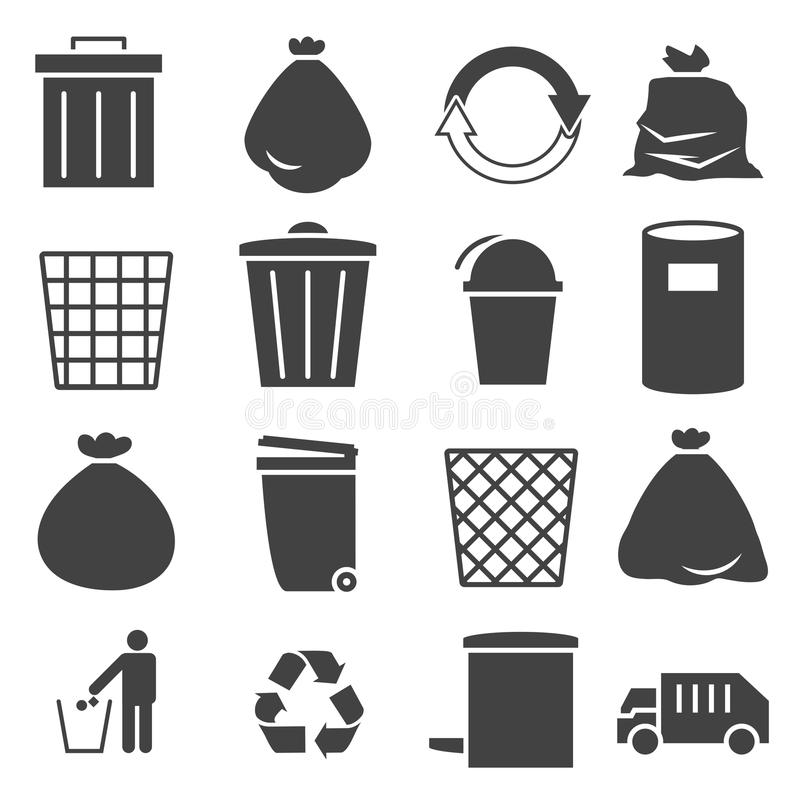 Trashcan icon set. Trashcan garbage icon set 01 stock illustration