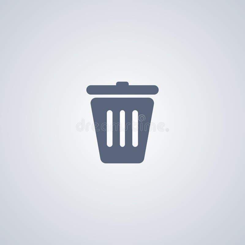 Trashcan, Kringloop, vector beste vlak pictogram stock illustratie