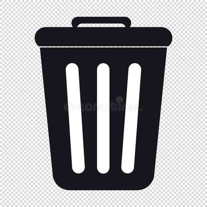Trashcan - VectordiePictogram - op Transparante Achtergrond wordt geïsoleerd stock illustratie