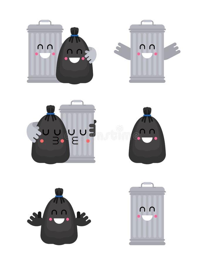 Trashcan y amigos del bolso de basura Bote de basura y pares negros del saco romance de los desperdicios Ilustraci?n del vector ilustración del vector