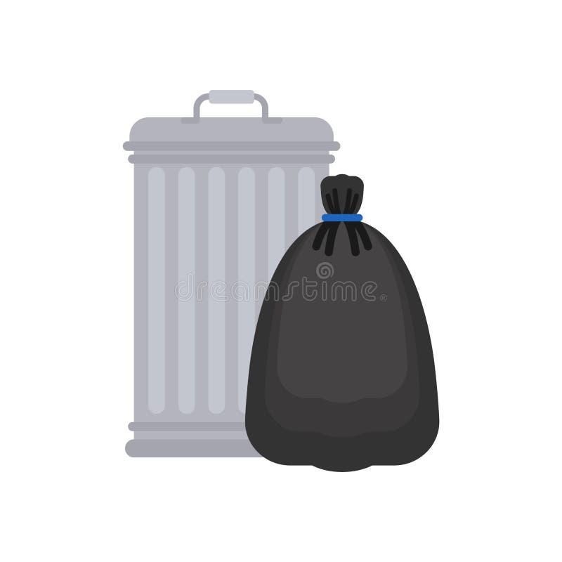 Trashcan y bolso de basura Bote de basura y saco negro ejemplo del vector del compartimiento de los desperdicios stock de ilustración