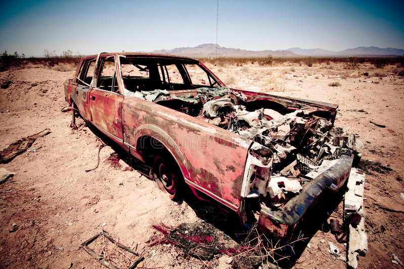 Download Trashed car stock image. Image of rusty, metal, rust, desert - 9219181