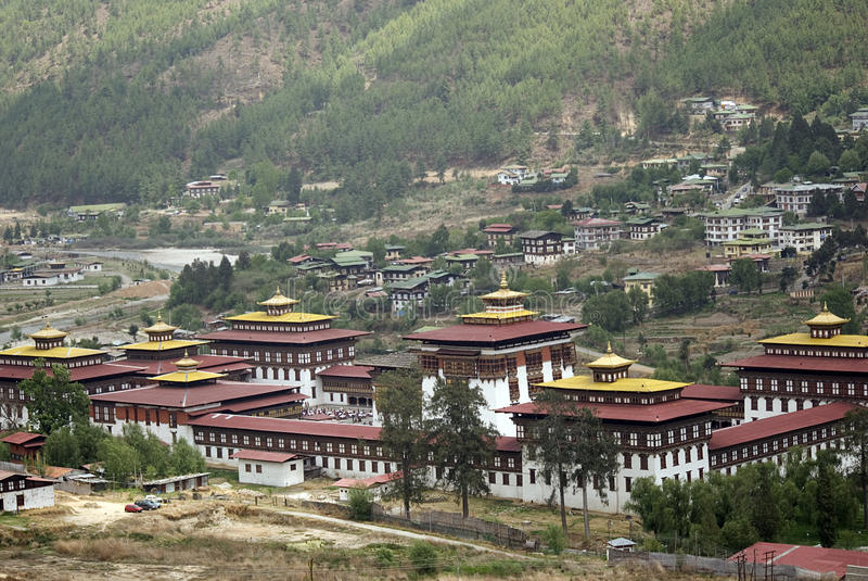 Trashi Chhoe Dzong, Thimphu, Bhután fotografía de archivo