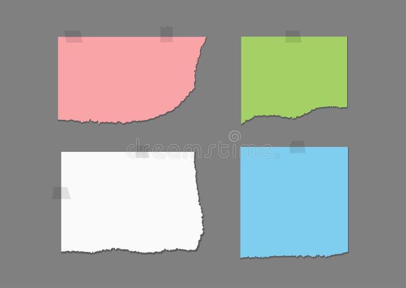 Trasiga kulöra ark och fragment av tejpen Uppsättning av rosa färger, gräsplan, vit, blåa stycken av sönderrivet papper vektor illustrationer