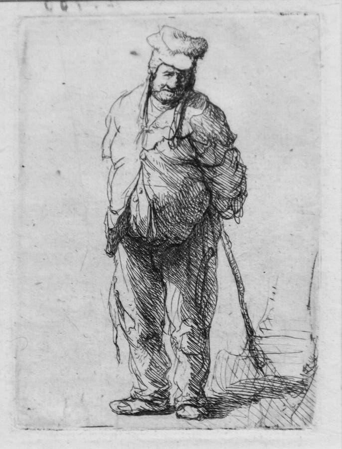 Trasigt bondaktigt innehav en pinne bak hans baksida, Rembrandt Van Rijn arkivbilder