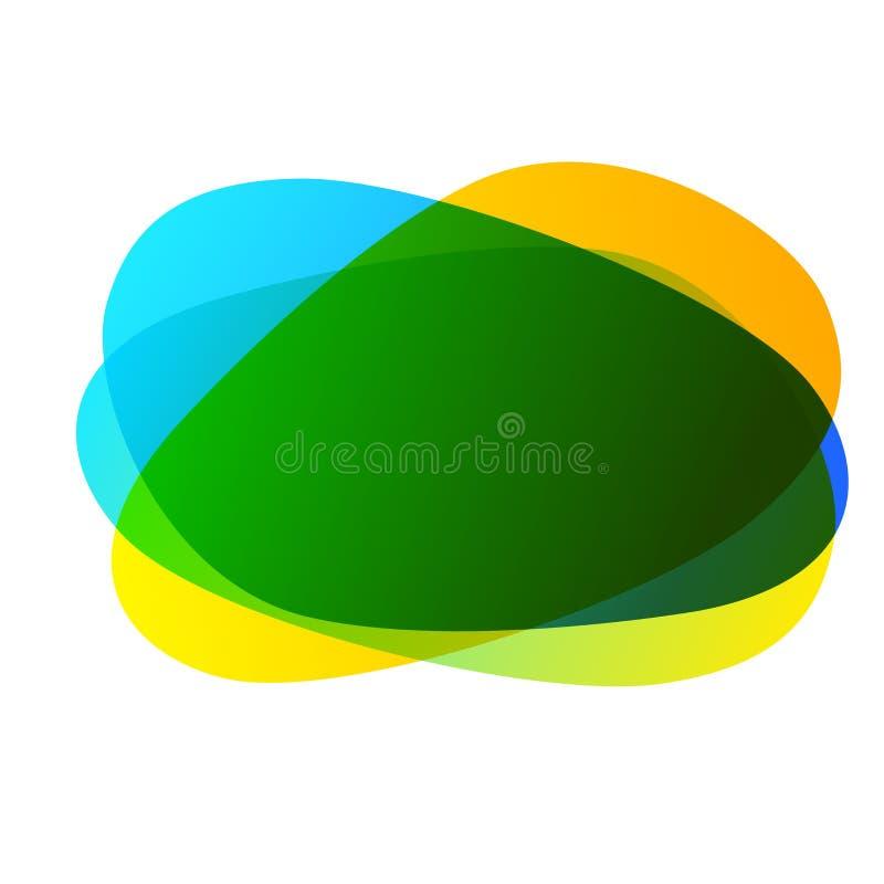 Traslapo de forma irregular multicolor semitransparente de los óvalos de las elipses aislado Idea creativa del fondo para ilustración del vector