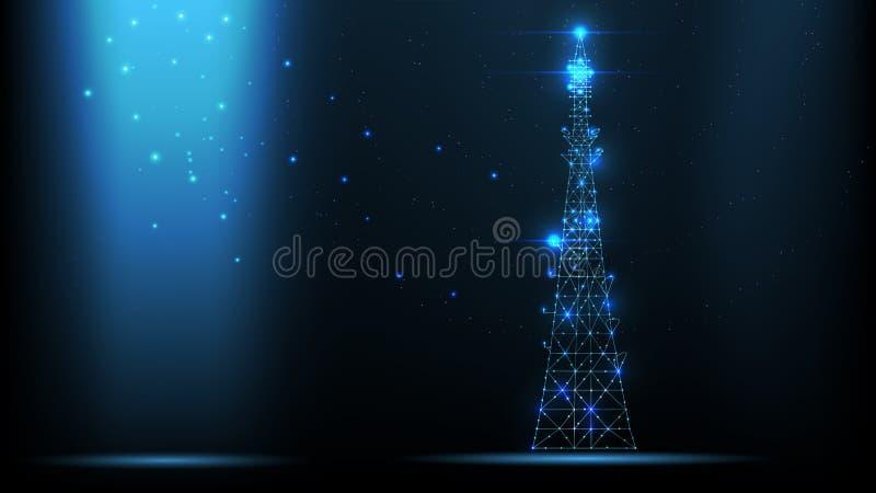 Trasmettitore astratto del segnale di telecomunicazioni del wireframe di vettore, torre di antenna radiofonica dalle linee e tria illustrazione di stock