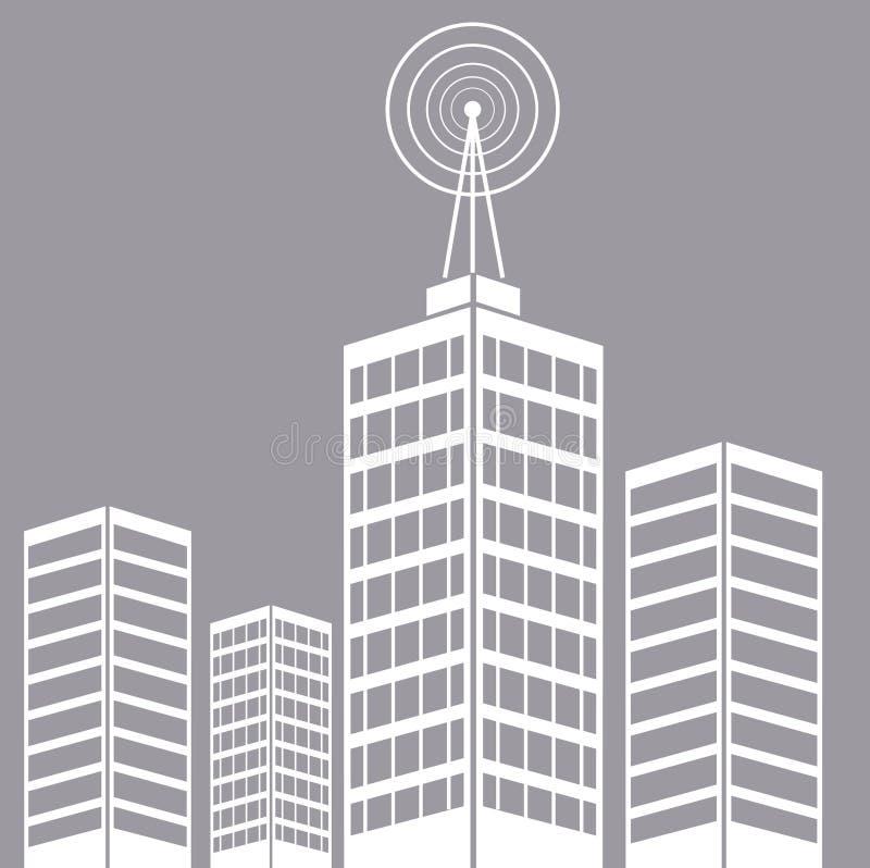 Trasmettitore dell'antenna della torre della costruzione della città royalty illustrazione gratis