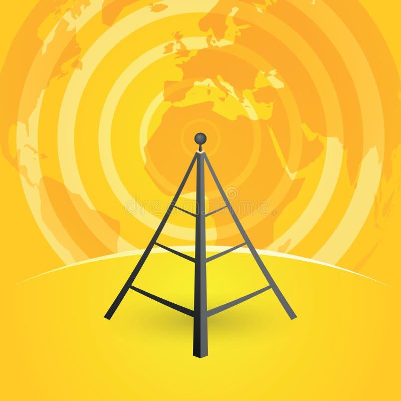 Trasmettitore della torre radiofonica e mappa di mondo illustrazione di stock