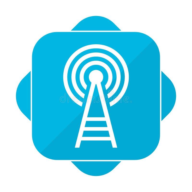 Trasmettitore quadrato blu dell'icona illustrazione di stock